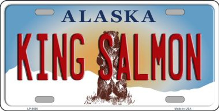 King Salmon Alaska State Background Novelty Metal License Plate