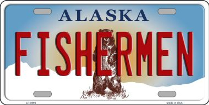 Fishermen Alaska State Background Novelty Metal License Plate