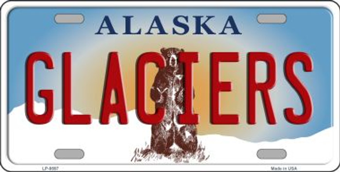 Glaciers Alaska State Background Novelty Metal License Plate