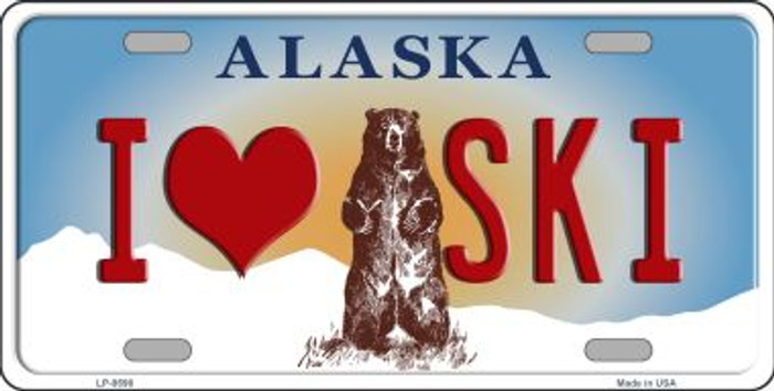 I Love Ski Alaska State Background Novelty Metal License Plate