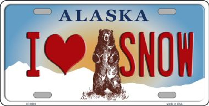I Love Snow Alaska State Background Novelty Metal License Plate
