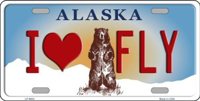 I Love Fly Alaska State Background Novelty Metal License Plate