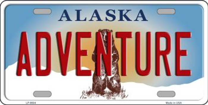 Adventure Alaska State Background Novelty Metal License Plate