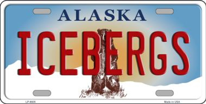 Icebergs Alaska State Background Novelty Metal License Plate