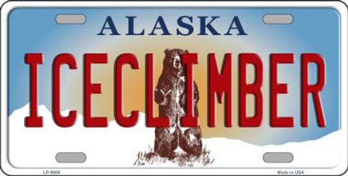 Ice Climber Alaska State Background Novelty Metal License Plate
