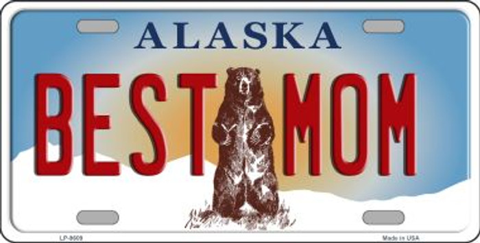 Best Mom Alaska State Background Novelty Metal License Plate