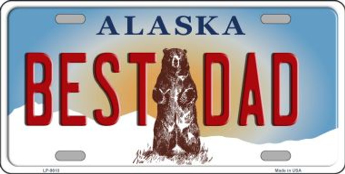 Best Dad Alaska State Background Novelty Metal License Plate