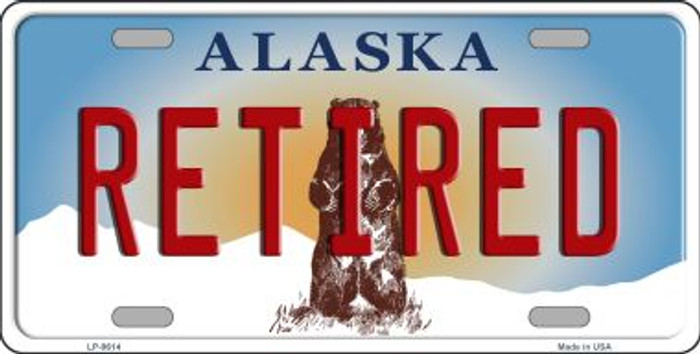 Retired Alaska State Background Novelty Metal License Plate