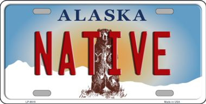 Native Alaska State Background Novelty Metal License Plate