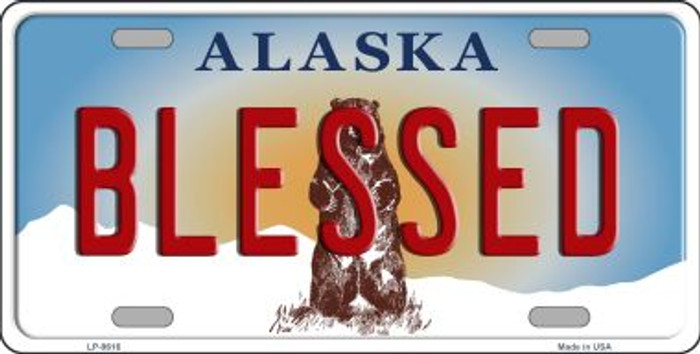 Blessed Alaska State Background Novelty Metal License Plate