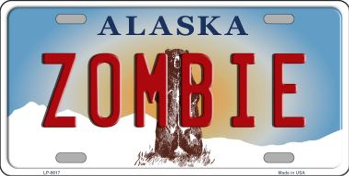 Zombie Alaska State Background Novelty Metal License Plate