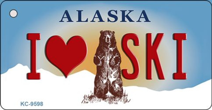 I Love Ski Alaska State Background Novelty Key Chain