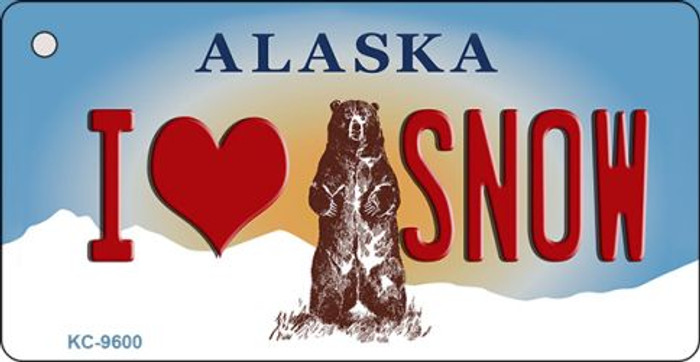 I Love Snow Alaska State Background Novelty Key Chain