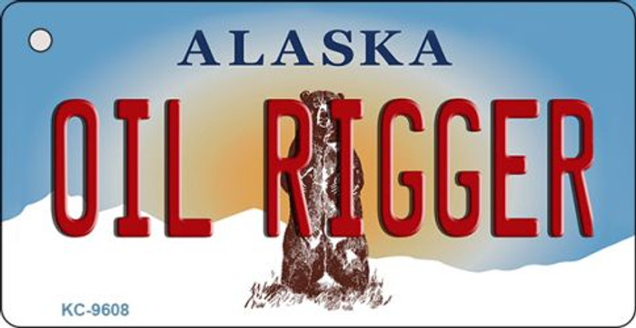 Oil Rigger Alaska State Background Novelty Key Chain