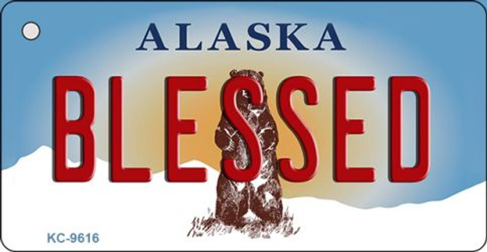 Blessed Alaska State Background Novelty Key Chain