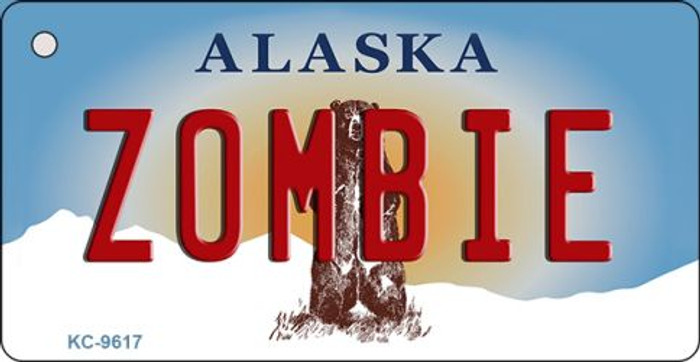 Zombie Alaska State Background Novelty Key Chain