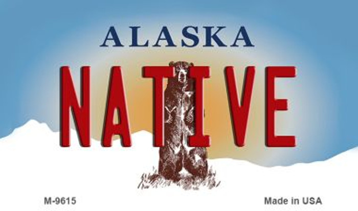 Native Alaska State Background Novelty Metal Magnet
