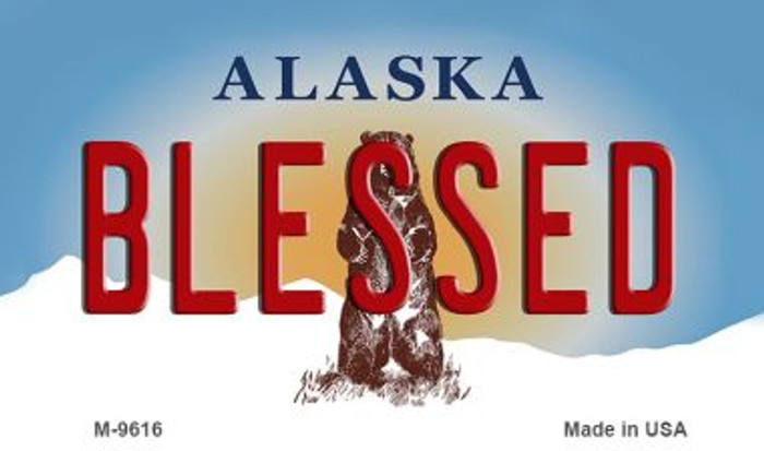 Blessed Alaska State Background Novelty Metal Magnet