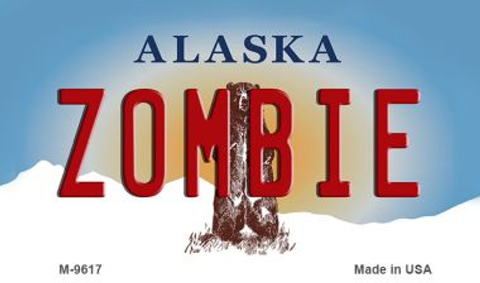 Zombie Alaska State Background Novelty Metal Magnet