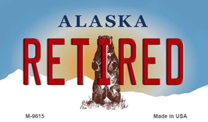 Retired Alaska State Background Novelty Metal Magnet