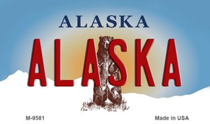 Alaska State Background Novelty Metal Magnet