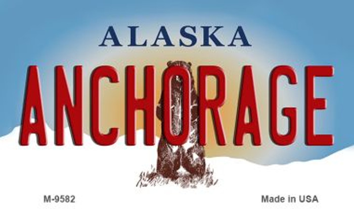 Anchorage Alaska State Background Novelty Metal Magnet