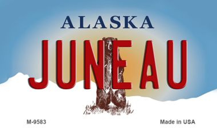 Juneau Alaska State Background Novelty Metal Magnet