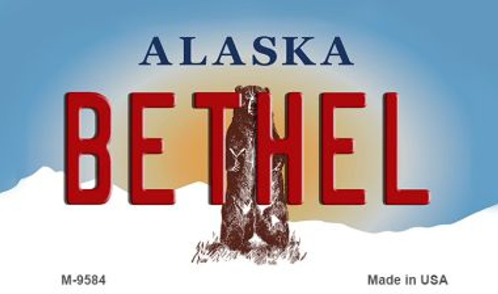 Bethel Alaska State Background Novelty Metal Magnet