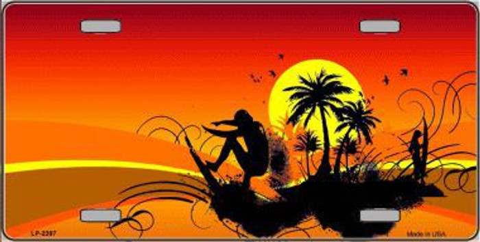 Sunset Surfer Metal Novelty License Plate
