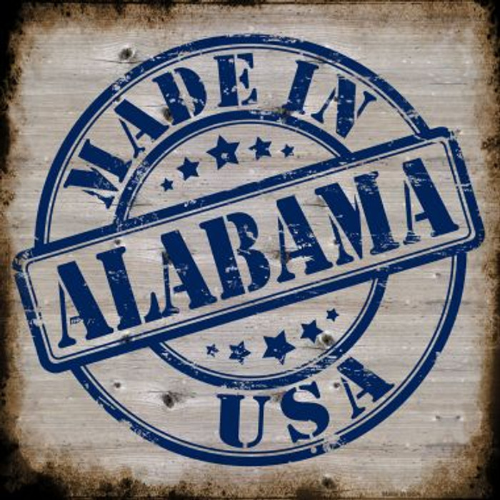 Alabama Stamp On Wood Novelty Metal Square Sign