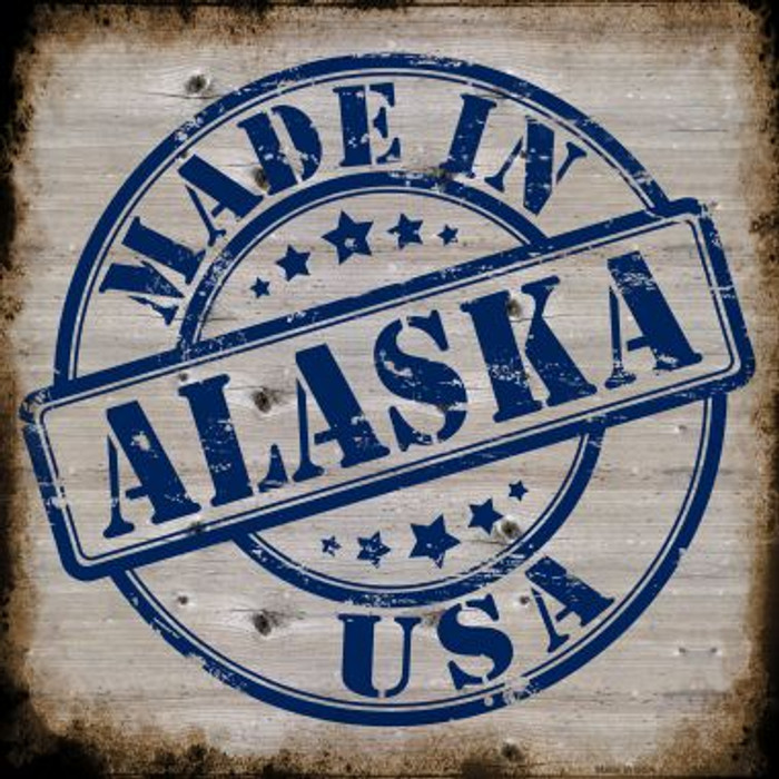 Alaska Stamp On Wood Novelty Metal Square Sign