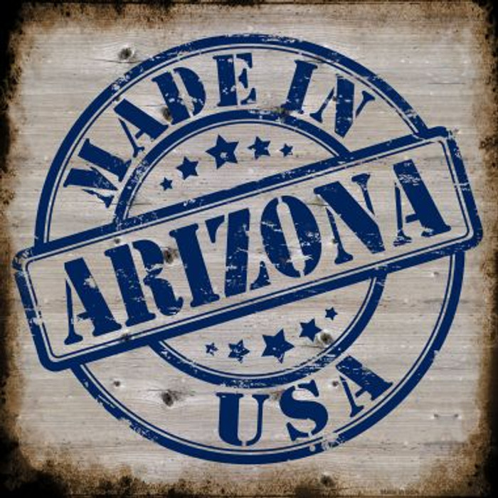 Arizona Stamp On Wood Novelty Metal Square Sign