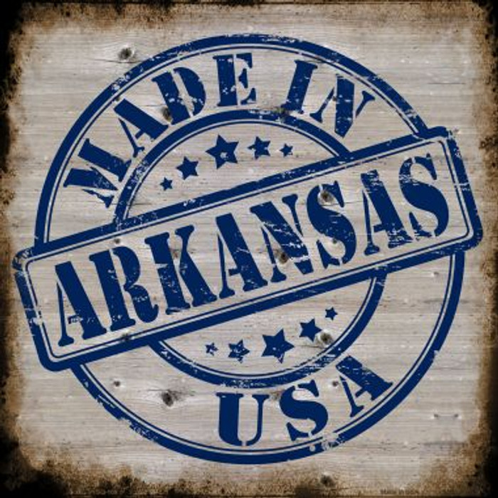 Arkansas Stamp On Wood Novelty Metal Square Sign
