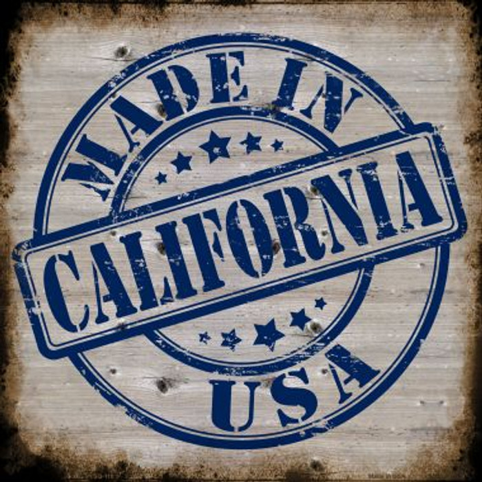 California Stamp On Wood Novelty Metal Square Sign