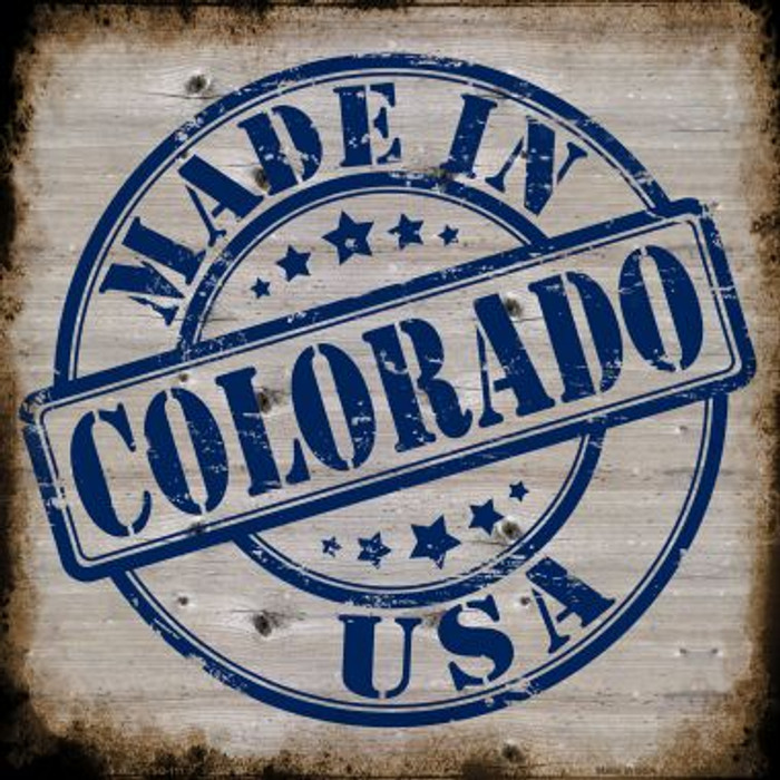 Colorado Stamp On Wood Novelty Metal Square Sign