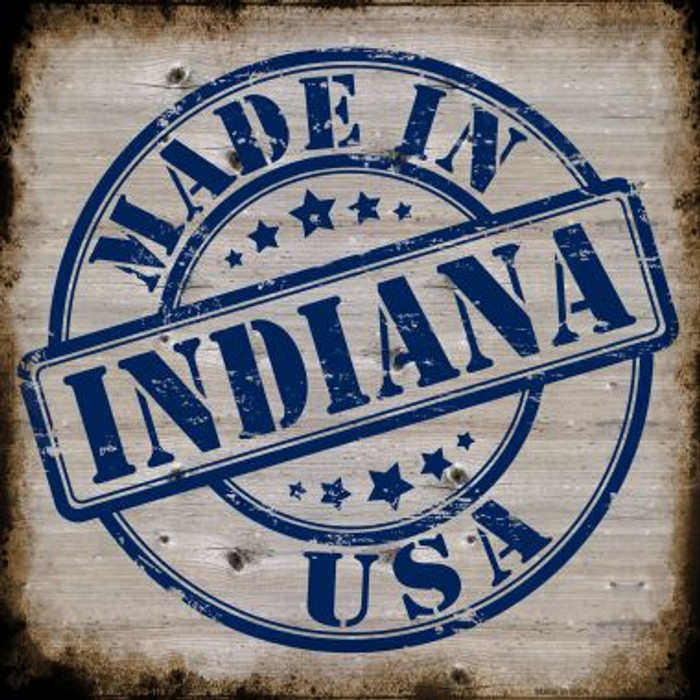 Indiana Stamp On Wood Novelty Metal Square Sign