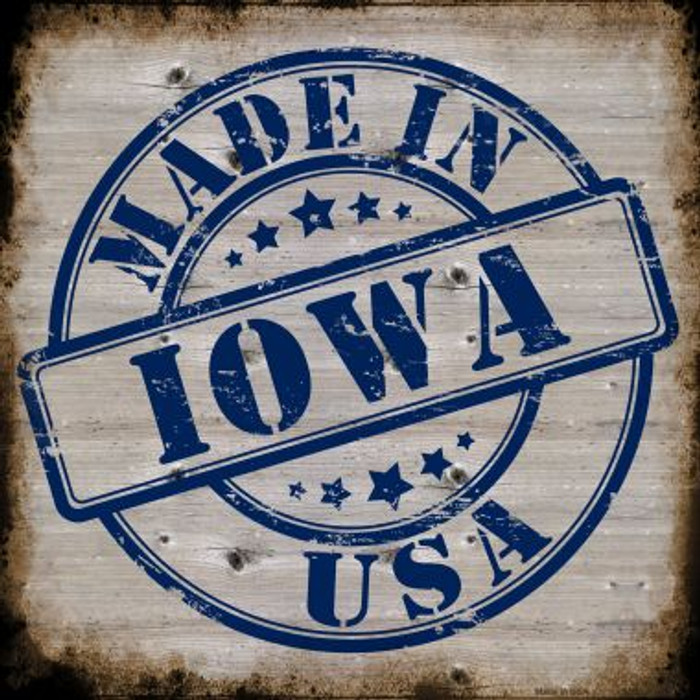 Iowa Stamp On Wood Novelty Metal Square Sign