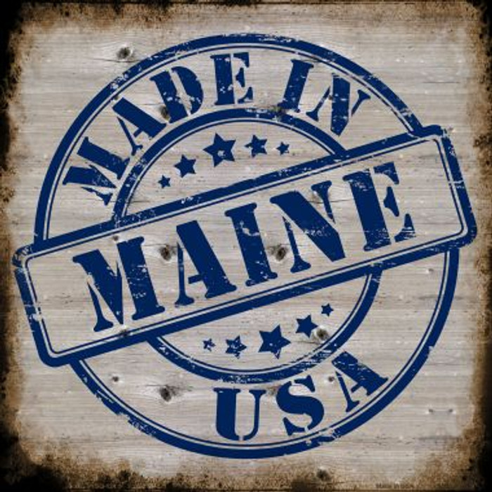 Maine Stamp On Wood Novelty Metal Square Sign
