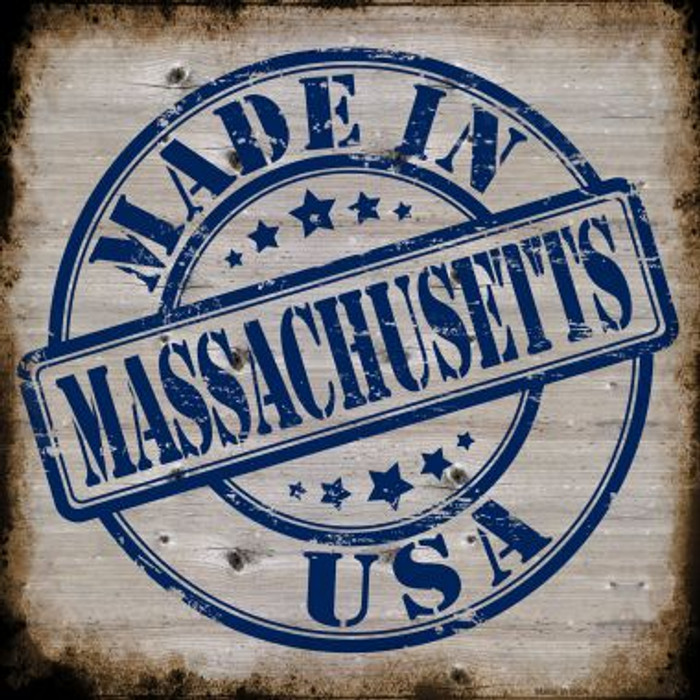 Massachusetts Stamp On Wood Novelty Metal Square Sign