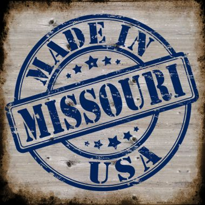 Missouri Stamp On Wood Novelty Metal Square Sign