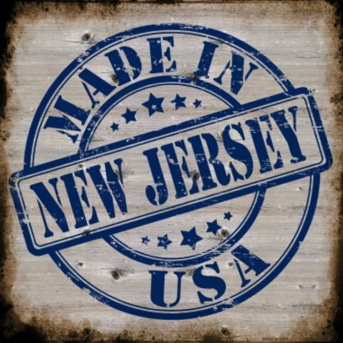 New Jersey Stamp On Wood Novelty Metal Square Sign