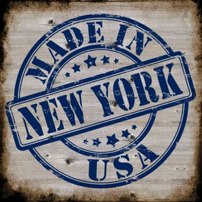 New York Stamp On Wood Novelty Metal Square Sign