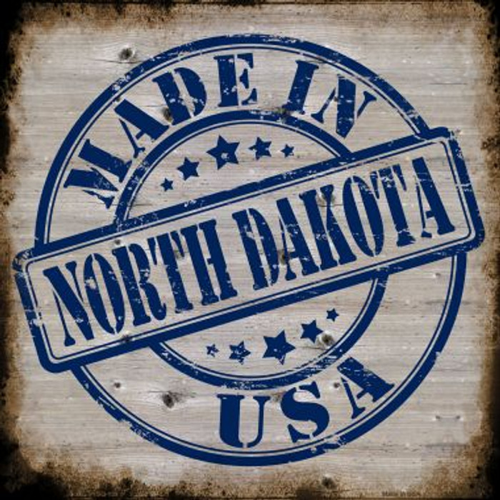 North Dakota Stamp On Wood Novelty Metal Square Sign