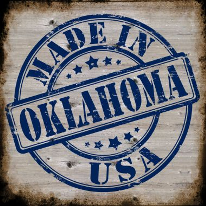 Oklahoma Stamp On Wood Novelty Metal Square Sign