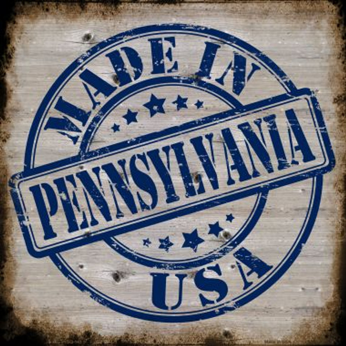 Pennsylvania Stamp On Wood Novelty Metal Square Sign