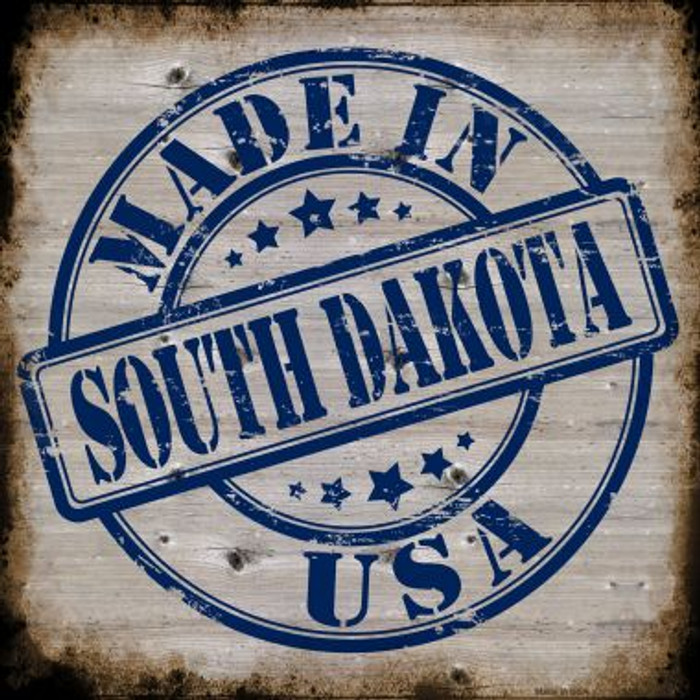 South Dakota Stamp On Wood Novelty Metal Square Sign