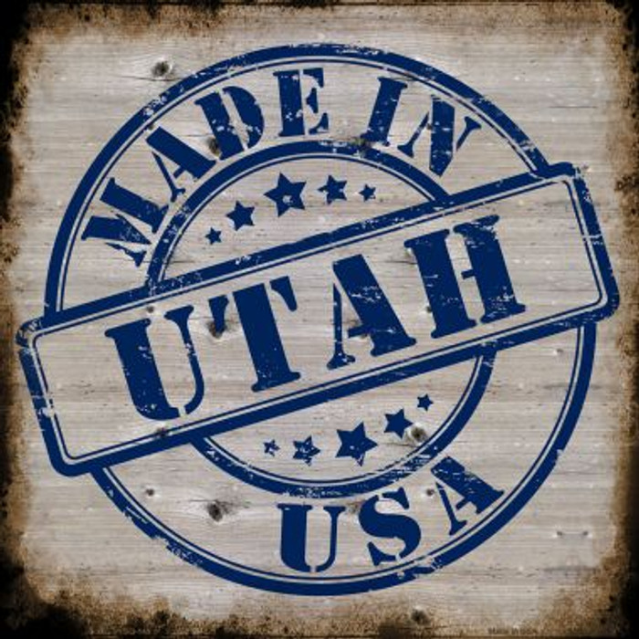 Utah Stamp On Wood Novelty Metal Square Sign