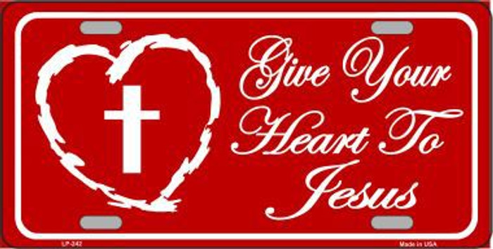 Give Your Heart To Jesus Metal Novelty License Plate