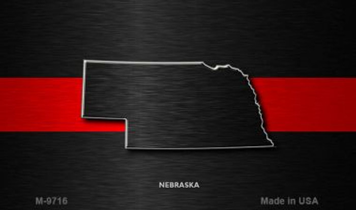 Nebraska Thin Red Line Novelty Metal Magnet