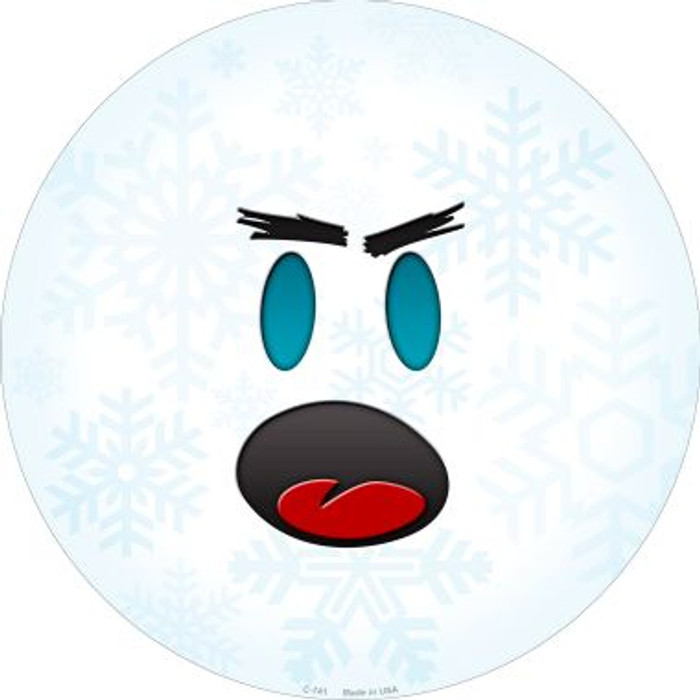 Shocked Face Snowflake Novelty Metal Circular Sign